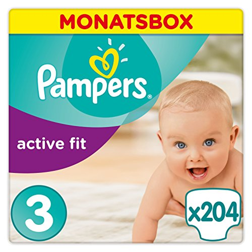 Pampers Windeln Active Fit Gr. 3 Midi 4-9 kg Monatsbox, 1er Pack (1 x 204 Stück)