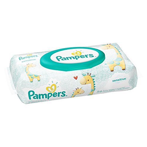 Pampers Feuchte Tücher Sensitive, Limited Edition Giraffe, 12er Pack (12 x 56 Stück) - 1