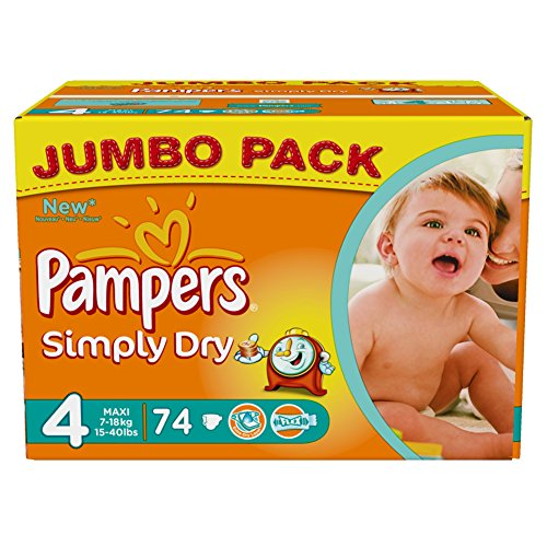 Pampers Simply Dry Gr.4 Maxi 7-18kg Jumbo Box, 2er Pack (2 x 74 Windeln) - 1