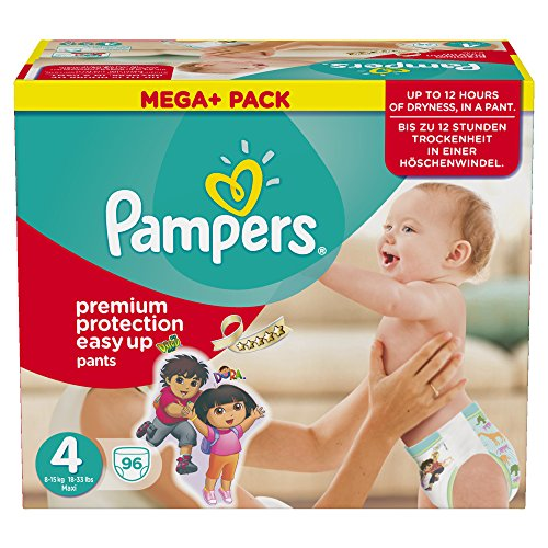 Pampers Windeln Easy up Gr. 4 Maxi 8-15 kg Mega plus Pack, 1er Pack (1 x 96 Stück) - 1