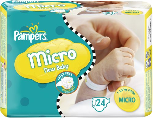 Pampers Windeln New Baby Gr.0 Micro 1-2.5kg Tragepackpack, 24 Stück - 1