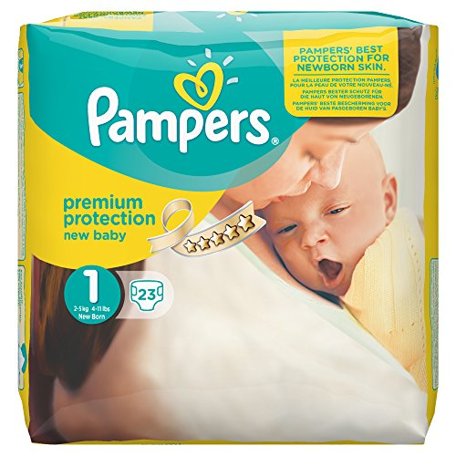 Pampers Windeln New Baby Gr. 1 Newborn 2-5 kg Tragepack, 4er Pack (4 x 23 Stück) - 1