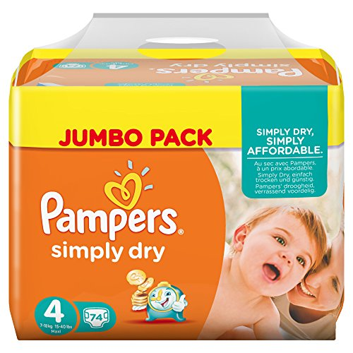 Pampers Windeln Simply Dry Gr. 4 Maxi 7-18 kg Jumbo Pack, 2er Pack (2 x 74 Stück) - 1
