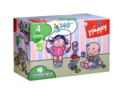 Bella Baby Happy Windeln Gr. 4 Maxi 8-18 kg Big Pack, 2er Pack (2 x 70 Windeln), 1er Pack (1 x 140 Stück) - 1